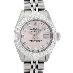 Rolex Ladies Stainless Steel Pink Diamond Datejust