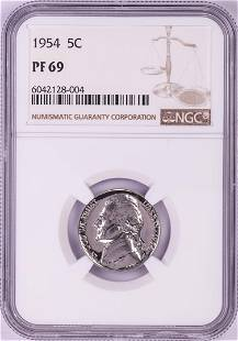 1954 Proof Jefferson Nickel Coin NGC PF69