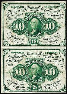 Uncut Pair of July 17, 1862 First Issue Ten Cents
