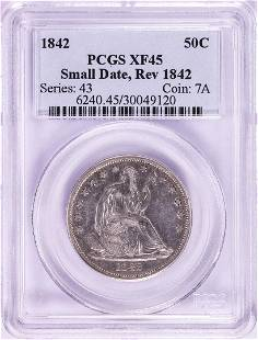 1842 Small Date Rev of 1842 Seated Liberty Half Dollar