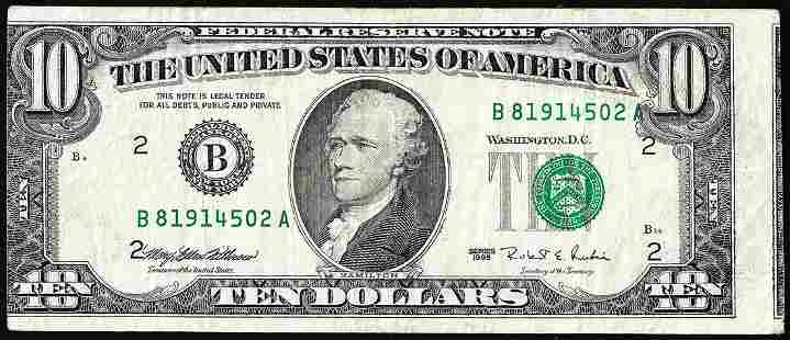 1995 $10 Federal Reserve Note Misaligned Face Printing