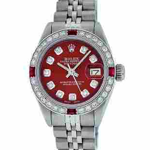 Rolex Ladies Stainless Steel Red Diamond & Ruby