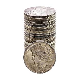 Lot of (25) $1 Peace Silver Dollar Coins