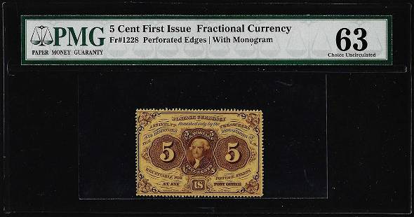 1862 First Issue Five Cents Fractional Currency Note