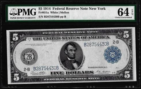 1914 $5 Federal Reserve Note New York Fr.851 PMG Choice
