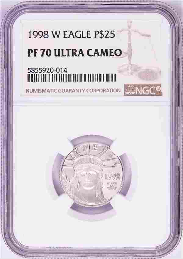 98-W $25 Proof American Platinum Eagle Coin PCGS PF70