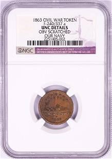 1863 Our Navy Civil War Token NGC Unc Details