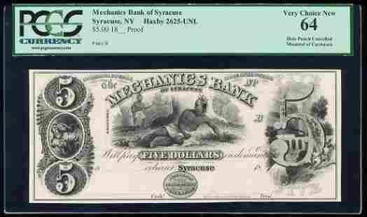 1800's $5 Mechanics Bank of Syracuse, NY Proof Obsolete