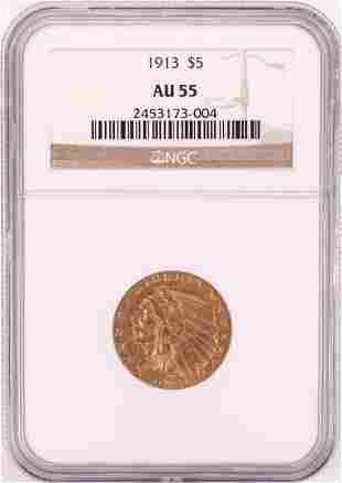 1913 $5 Indian Head Half Eagle Gold Coin NGC AU55