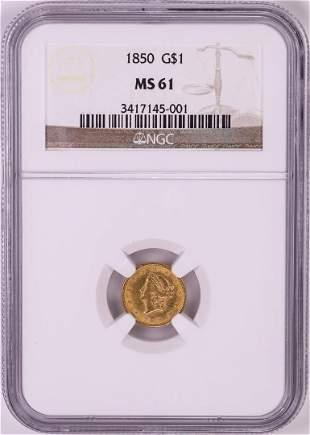 1850 $1 Liberty Head Gold Dollar Coin NGC MS61