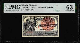 1893 World's Columbian Exposition Ticket Indian Chief