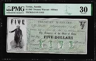 1862 $5 Treasury Warrant Austin Texas Military Note PMG