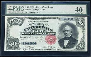 1891 $50 Silver Certificate Note Fr.333 PMG Extremely