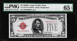 1928B $5 Legal Tender Note Fr.1527 PMG Gem Uncirculated