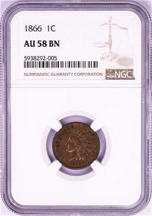 1866 Indian Head Cent Coin NGC AU58BN