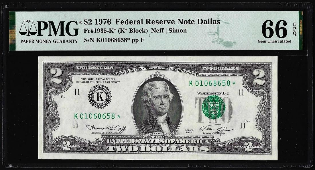 1976 $2 Federal Reserve Star Note Dallas Fr.1935-K* PMG