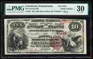 Serial # 1 - 1882BB $10 Second NB of Uniontown, PA CH#
