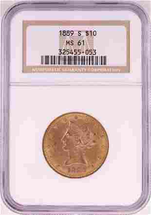 1899-S $10 Liberty Head Eagle Gold Coin NGC MS61