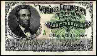 1893 World's Fair Columbian Exposition Ticket Lincoln