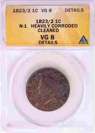 1823/2 N-1 Coronet Head Large Cent Coin ANACS VG8