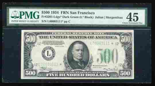 1934 $500 Federal Reserve Star Note San Francisco