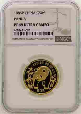 1986P China 50 Yuan Panda Gold Proof Coin NGC PF69