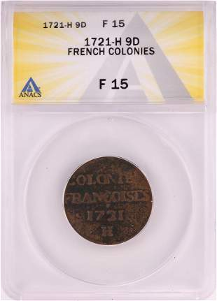 1721-H French Colonies 9 Deniers Coin ANACS F14