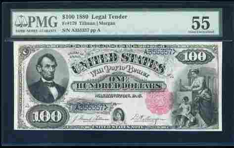 1880 $100 Legal Tender Note Fr.179 PMG About