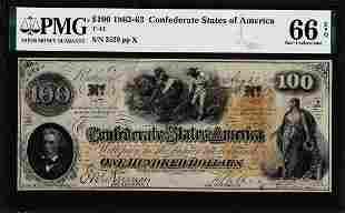 1862 $100 Confederate States of America Note T-41 PMG