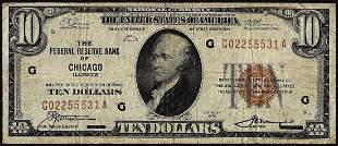 1929 $10 Federal Reserve Bank Note Chicago