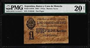 1864 Argentina Banco y Casa de Moneda Un Peso Pick#