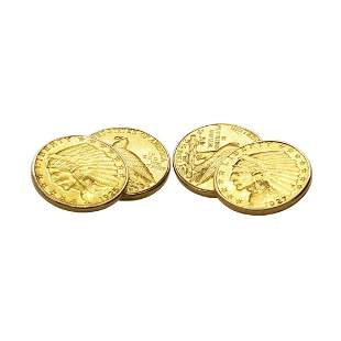 Pair of $2 1/2 Quarter Eagle Gold Coin Cufflinks with