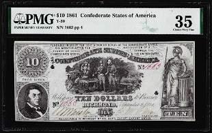 1861 $10 Confederate States of America Note T-30 PMG