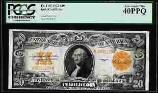 1922 $20 Gold Certificate Note Fr.1187 PCGS Extremely