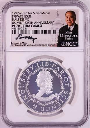 1792-2017 Half Disme 1 oz. Silver Medal NGC PF70