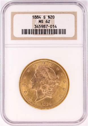 1884-S $20 Liberty Head Double Eagle Gold Coin NGC MS62