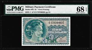 Series 692 $1 Military Payment Certificate Note PMG