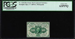 1862 First Issue Ten Cents Fractional Currency Note