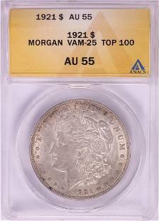 1921 VAM-25 $1 Morgan Silver Dollar Coin ANACS AU55 Top