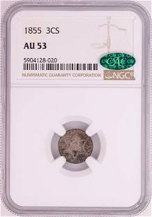 1855 Three Cent Piece Coin NGC AU53 CAC