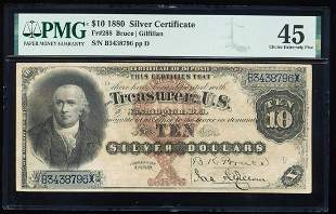 1880 $10 Silver Certificate Note Fr.288 PMG Choice