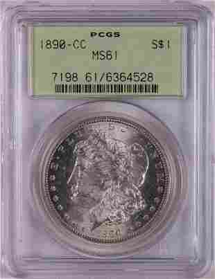 1890-CC $1 Morgan Silver Dollar Coin PCGS MS61 Old