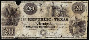 1839 $20 The Republic of Texas Obsolete Bank Note Cut