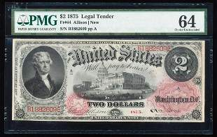 1875 $2 Legal Tender Note Fr.44 PMG Choice Uncirculated