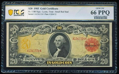 1905 $20 Technicolor Gold Certificate Note Fr.1180 PCGS