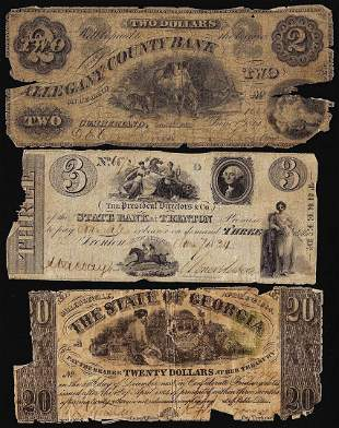 Lot of (3) Miscellaneous Obsolete Currency Notes