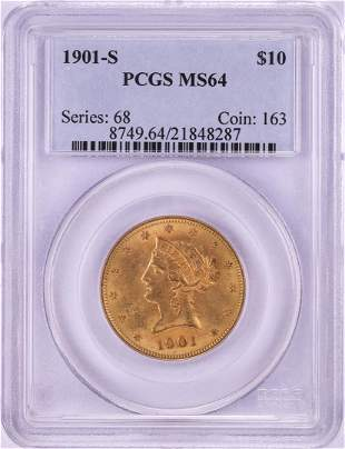 1901-S $10 Liberty Head Eagle Gold Coin PCGS MS64