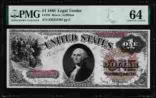 1880 $1 Legal Tender Note Fr.29 PMG Choice Uncirculated