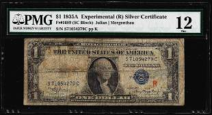 "1935A $1 Experimental ""R"" Silver Certificate Note"