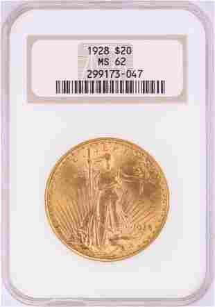 1928 $20 St. Gaudens Double Eagle Gold Coin NGC